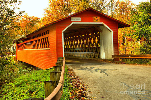 Photograph - Approaching The Bennington Henry Covered Bridge by Adam Jewell