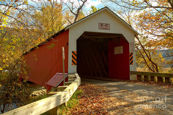 Photograph - Approaching The Eagleville Covered Bridge by Adam Jewell