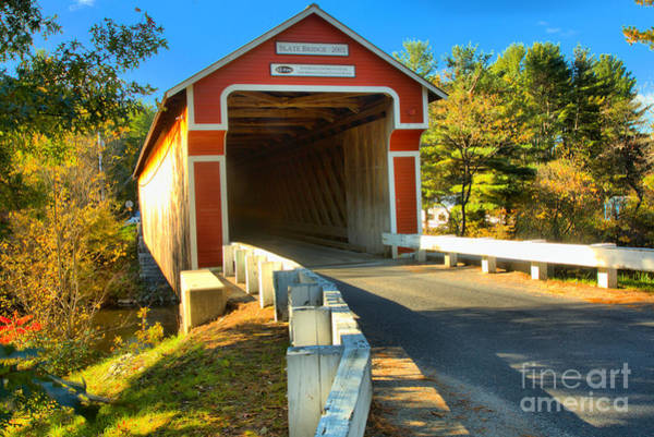Photograph - Approaching The Slate Covered Bridge by Adam Jewell