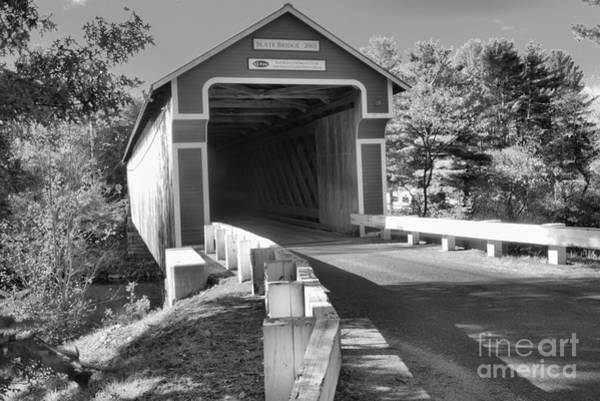 Photograph - Approaching The Slate Covered Bridge Black And White by Adam Jewell