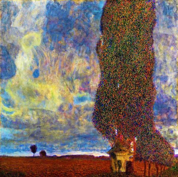 Wall Art - Painting - Approaching Thunderstorm,the Large Poplar II - Digital Remastered Edition by Gustav Klimt