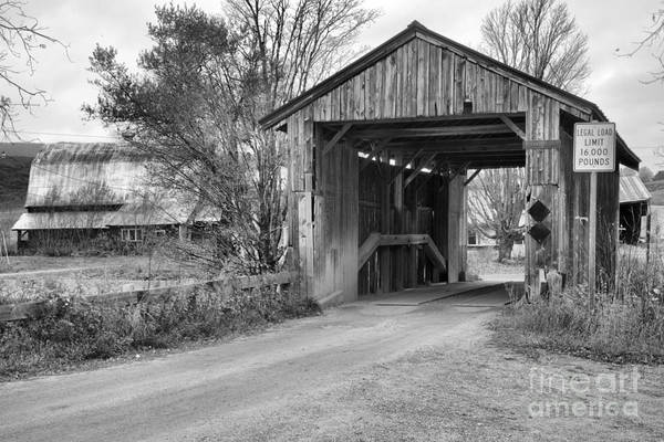 Photograph - Approachng The Scribner Covered Bridge Black And White by Adam Jewell