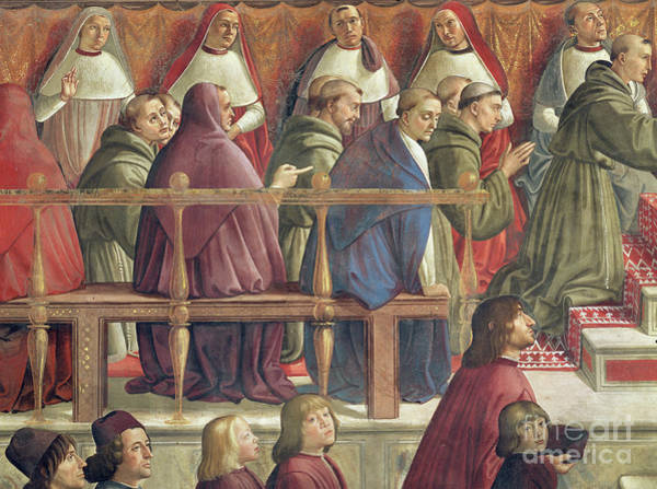 Wall Art - Painting - Approval Of The Order By Pope Honorius IIi, Scene From The Life Of St Francis Of Assisi, Detail by Domenico Ghirlandaio