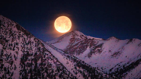 Herron Photograph - April Luna Setting On The Sierra by Mike Herron