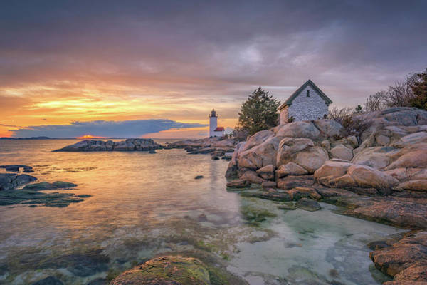 Photograph - April Sunset At Annisquam Harbor Lighthouse by Kristen Wilkinson