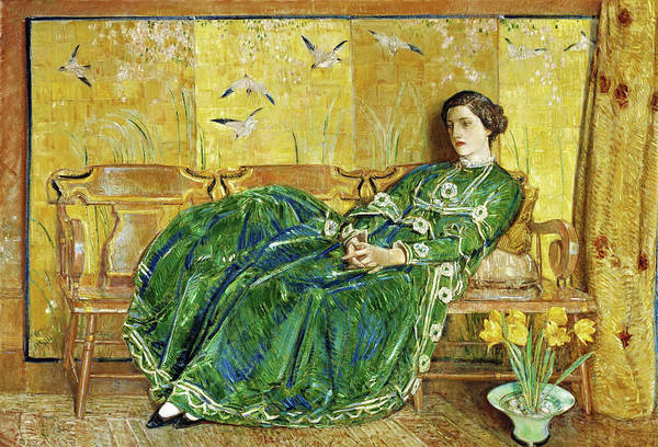 Priceless Painting - April, The Green Gown - Digital Remastered Edition by Frederick Childe Hassam