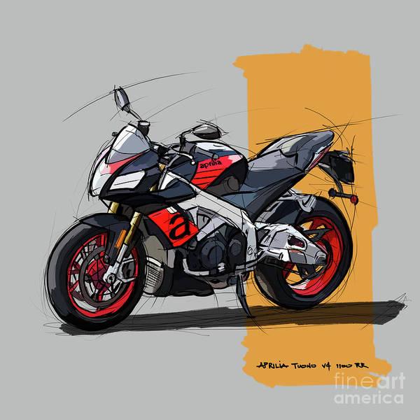 Wall Art - Digital Art - Aprilia Tuono V4 1100 Rr, Original Handmade Sketch Birthday Gift by Drawspots Illustrations