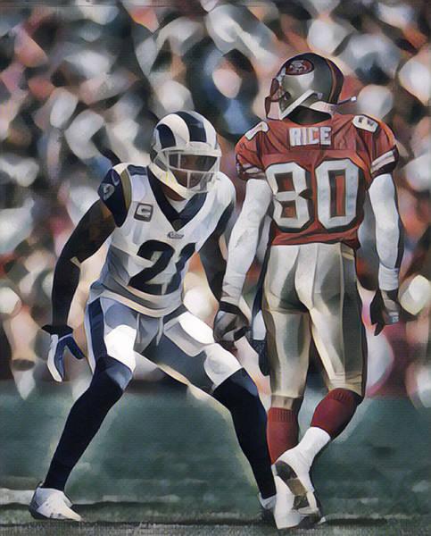 Wall Art - Mixed Media - Aqib Talib Los Angeles Rams Vs Jerry Rice San Francisco 49ers Abstract Art 1 by Joe Hamilton