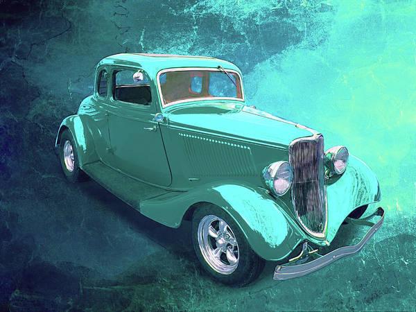 Digital Art - Aqua 1934 Ford by Rick Wicker