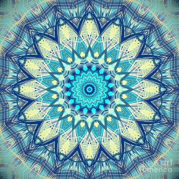 Digital Art - Aqua Blue Detailed Mandala  by Sheila Wenzel