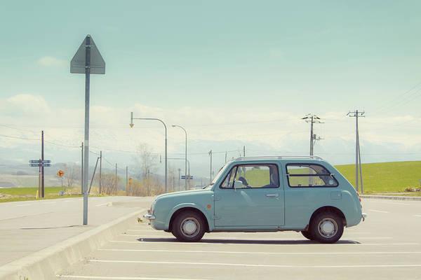 Parking Photograph - Aqua Color Car In Parking Lot by D3sign