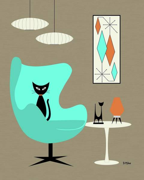 Wall Art - Digital Art - Aqua Egg Chair With Orange Beehive Lamp by Donna Mibus