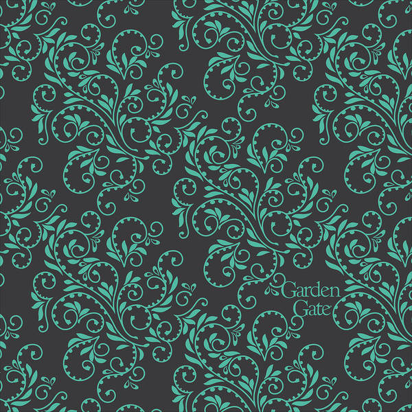 Digital Art - Aqua Fern Pattern With Logo by Garden Gate magazine