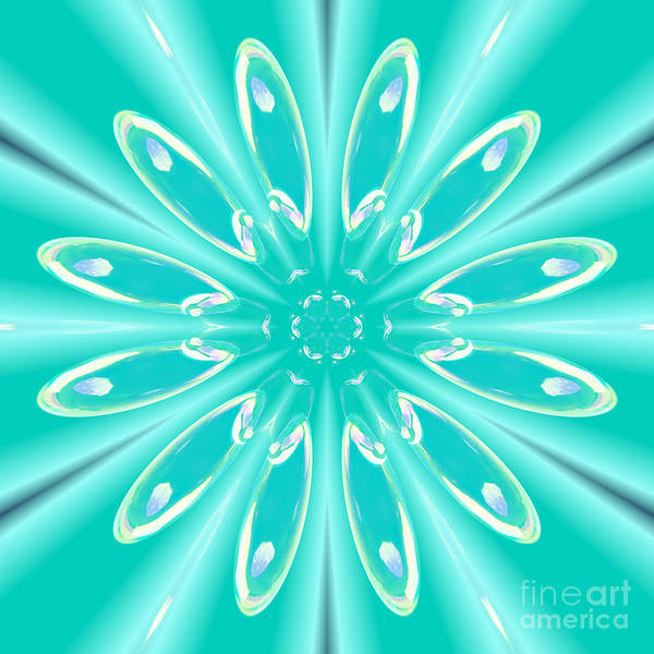 Digital Art - Aqua Flower Burst by Rachel Hannah