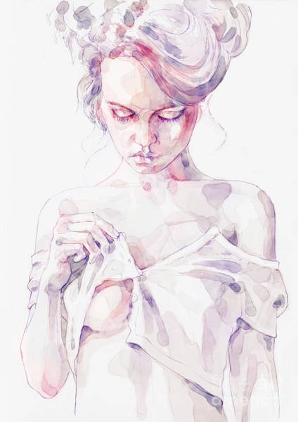 Painting - Aquarelle Sensual Portrait Of A Girl by Dimitar Hristov