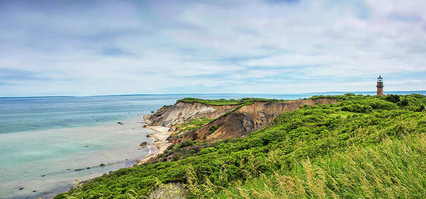 Wall Art - Photograph - Aquinnah Cliffs And Gay Head Lighthouse Panorama by Brendan Reals