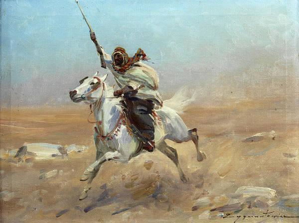 Arab Horse Painting - Arab Rider by Czeslaw Wasilewski