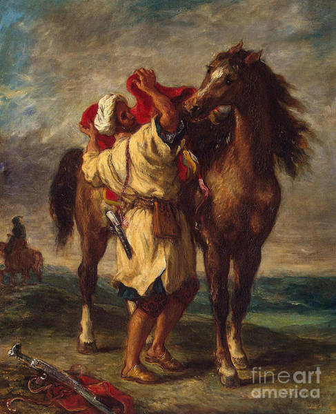 Wall Art - Painting - Arab Saddling His Horse, 1855  by Ferdinand Victor Eugene Delacroix