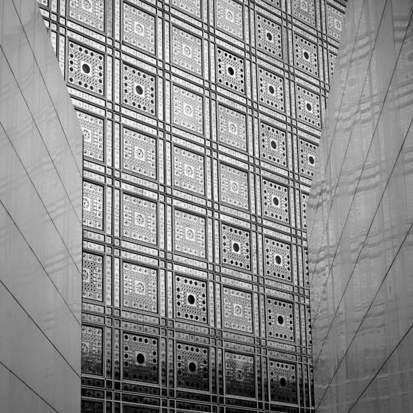 Photograph - Arab World Institute Paris Bw by Andrew Fare