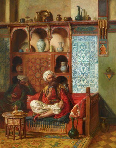Arab Horse Painting - Arabs Drinking Tea In An Interior by John Bagnold Burgess