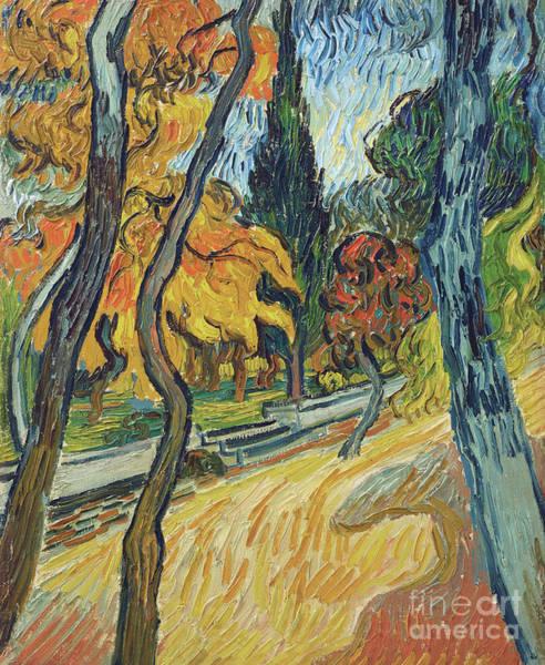 Wall Art - Painting - Arbres Dans Le Jardin De L Asile, 1889 by Vincent Van Gogh