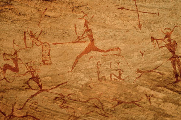Art Object Photograph - Archeological Rock Painting, Hunting by Friedrich Schmidt