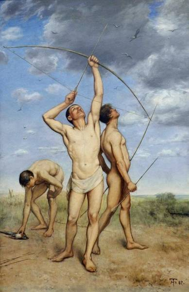 Wall Art - Painting - Archers  1887 By Hans Thoma by Hans Thoma