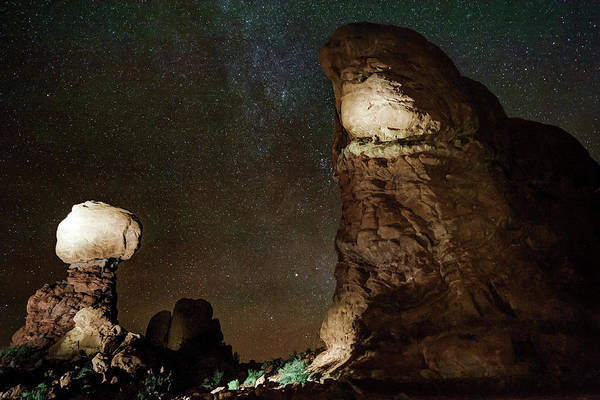 Photograph - Arches National Park Monoliths Under A Star Filled Night Sky by Gregory Ballos