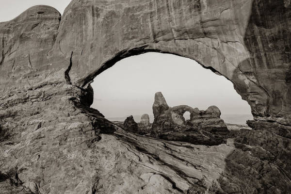 Photograph - Arches North Window And Turret Arch - Moab Utah Sepia by Gregory Ballos