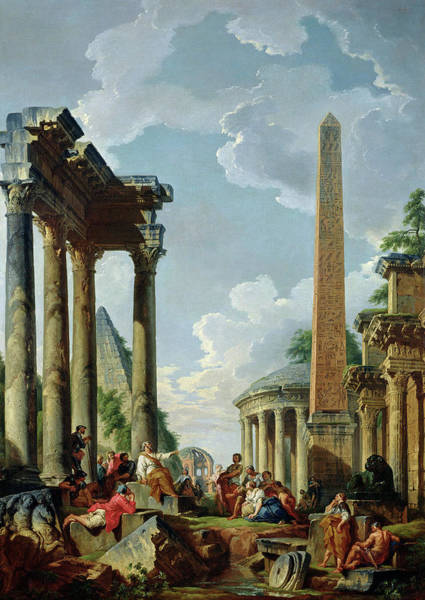 Collapse Painting - Architectural Capriccio With A Preacher In The Ruins by Giovanni Paolo Pannini