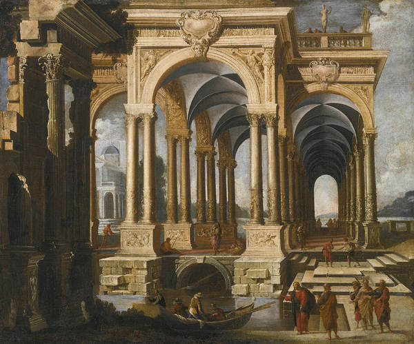 Wall Art - Painting - Architectural Capriccio With Christ And Disciples  by Francois de Nome