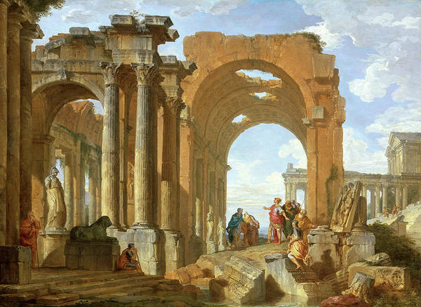 Collapse Painting - Architectural Capriccio With Figures Discoursing Among Roman Ruins by Giovanni Paolo Panini
