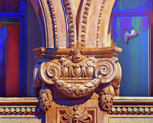 Wall Art - Photograph - Architectural Detail With Pigeon by Nikolyn McDonald