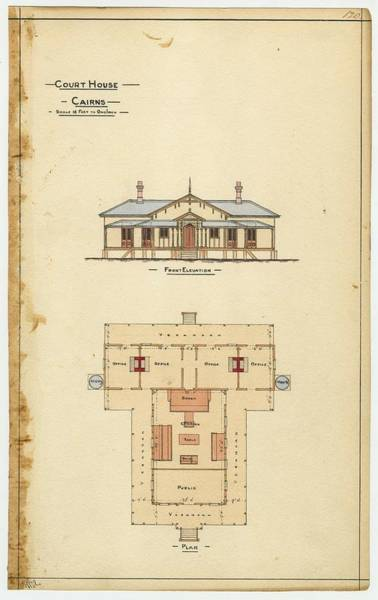 Courthouse Painting - Architectural Drawing Of The Court House  Cairns by Celestial Images