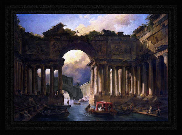 Painting - Architectural Landscape With A Canal By Hubert Robert by Xzendor7