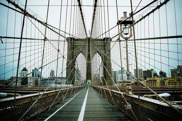 Photograph - Architecture Of The Brooklyn Bridge In by Michael Marquand