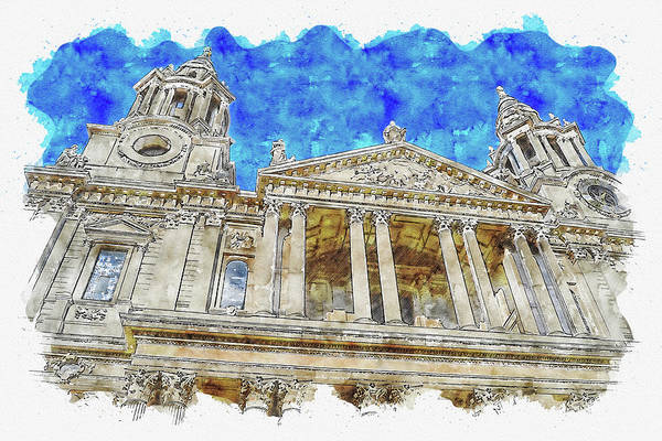 Wall Art - Digital Art - Architecture #watercolor #sketch #architecture #cathedral by TintoDesigns