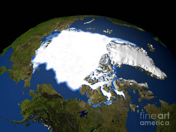 Photograph - Arctic Sea Ice, Satellite Image, 1979 by NASA GSFC Scientific Visualization Studio