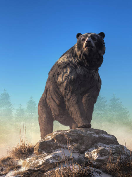 Digital Art - Arctodus, The Short Faced Bear by Daniel Eskridge