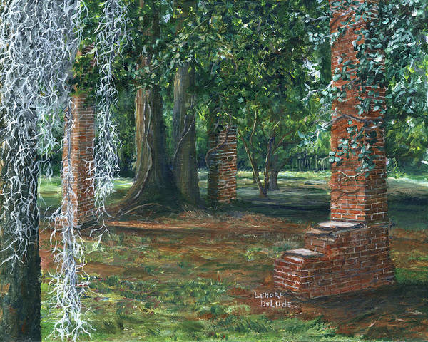 Painting - Ardoyne Ruins Near The Mansion, Houma, Louisiana by Lenora De Lude