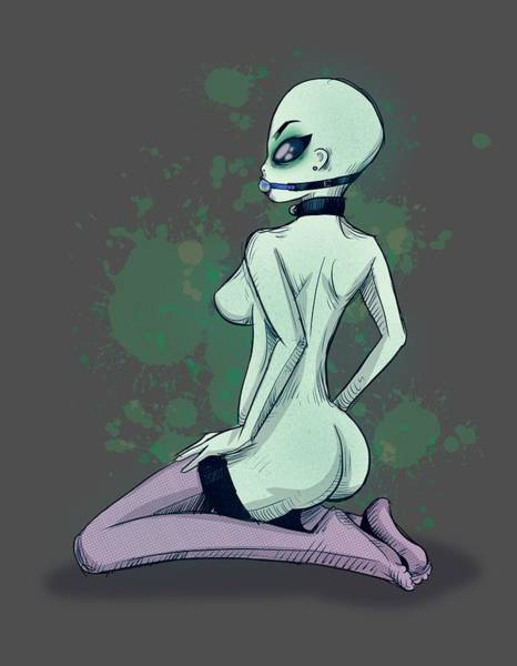 Wall Art - Drawing - Area 51 Babe by Ludwig Van Bacon