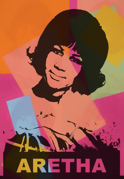 Wall Art - Mixed Media - Aretha Pop Art Poster by Dan Sproul