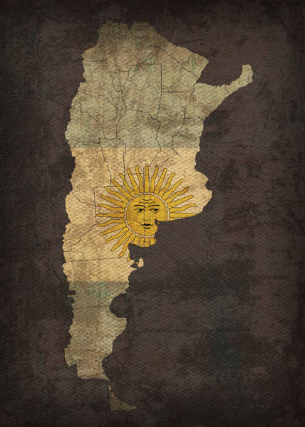 South America Mixed Media - Argentina Country Flag Map by Design Turnpike