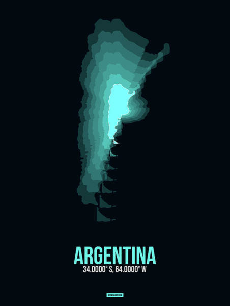 Wall Art - Digital Art - Argentina Radiant Map 1 by Naxart Studio