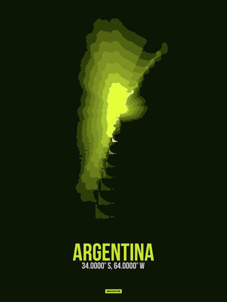 Wall Art - Digital Art - Argentina Radiant Map 2 by Naxart Studio