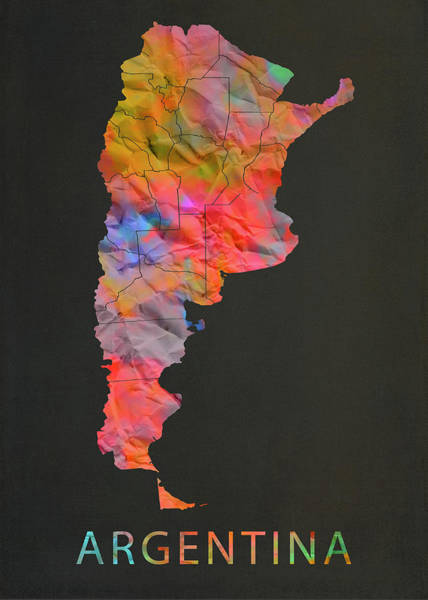 South America Mixed Media - Argentina Tie Dye Country Map by Design Turnpike