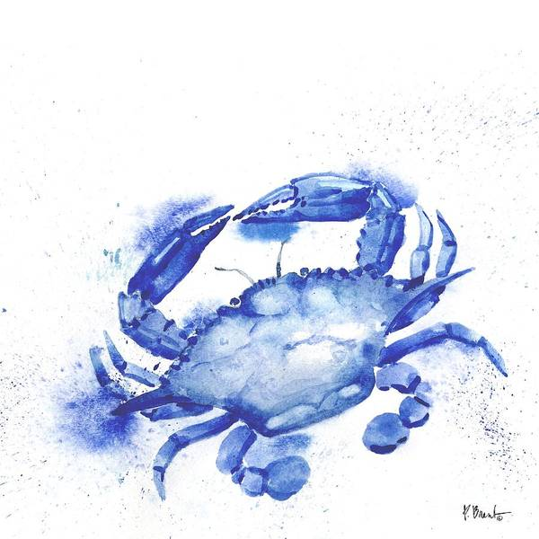 Sealife Painting - Arianna Crab - White by Paul Brent