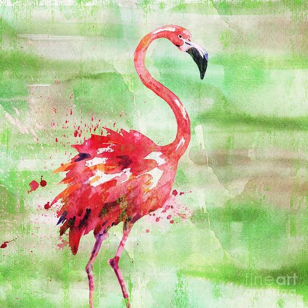 Wall Art - Painting - Arianna Flamingo I - Green by Paul Brent