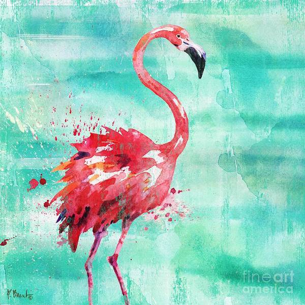 Wall Art - Painting - Arianna Flamingo I - Turquoise by Paul Brent