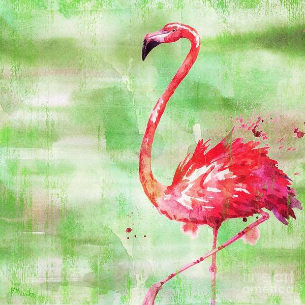 Wall Art - Painting - Arianna Flamingo II - Green by Paul Brent